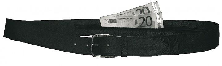 Leathersafe Geldgürtel 'Shine', schwarz 85 cm