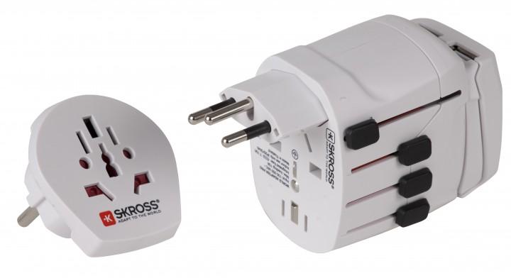 Skross Steckeradapter 'World Pro + USB' Schuko