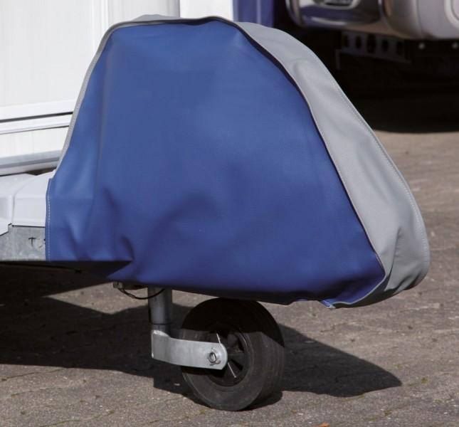 Deichselhaube Leder für Wohnwagen Blau/Grau
