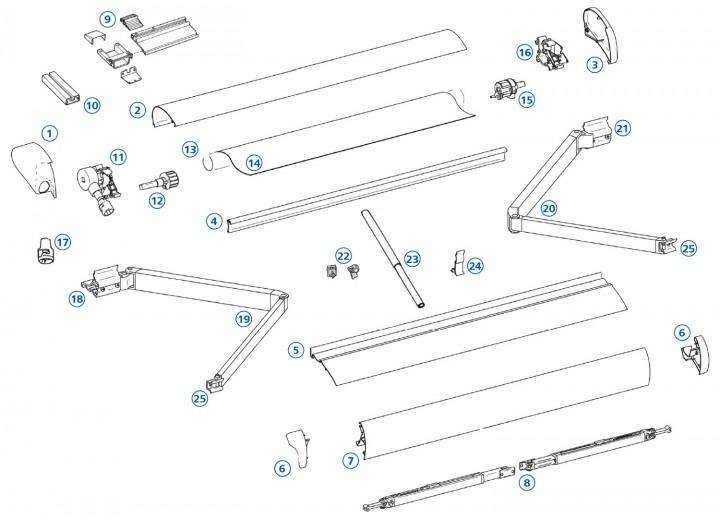 Omnistor 6002 & 5002 Stützfuß 123 cm für Markisenlänge 2,6 m