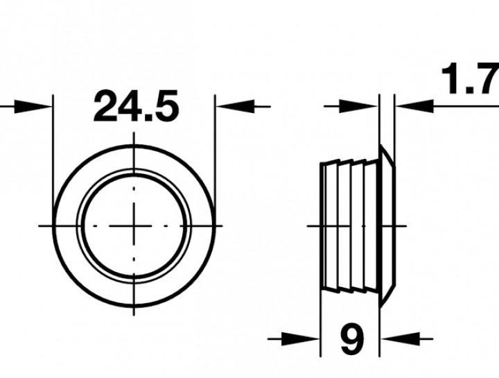 Druckknopf braun für Mini Push-Lock