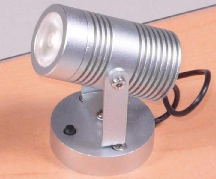 LED-Aufbauspot 2,5 Watt Alu silber weiße LEDs mit Schalter
