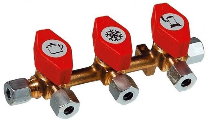 Gas Verteilerblock mit 3 Abgängen 10 mm