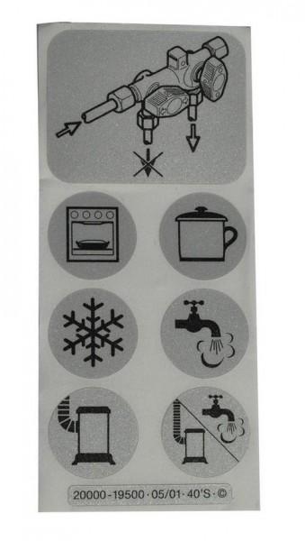 Symbole Aufkleber-Satz für Verteilerblock